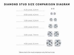 what size diamond earrings should i buy new diamond stud size chart jewellry s website