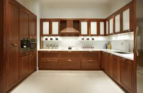 outstanding u shaped mahogany cabinets system for modern kitchen