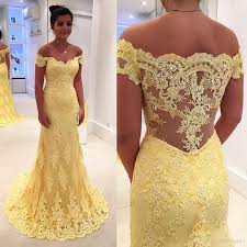 yellow wedding dress 2017 lemon yellow of the dresses shoulder lace