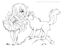 chibi with wolf lineart commission by yampuff on deviantart