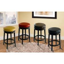 Backless Swivel Bar Stool Armen Living Mbs 404 26 In Wasabi Bonded Leather And Black Wood
