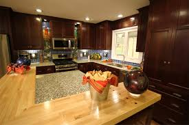 Recycled Kitchen Cabinets Enchanting Oak Countertop As Well As Dark Brown Polished Cabinet