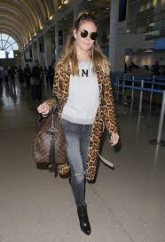 spot on heidi klum u0027s leopard print coat and sweatshirt look for