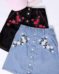 denim skirts low stock floral denim skirts inu inu