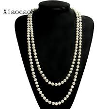 pearl necklace women images High quality shell pearl necklace women 55 quot long necklace classic jpg