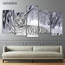 popular tiger print wall art buy cheap tiger print wall art lots hd 5 pieces canvas paintings printed tiger snow mountain wall art canvas modular living room bedroom