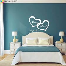 bedroom wall art symbol of love forever wall sticker double heart custom couple