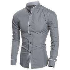 edging design long sleeve grandad chinese collar shirt in gray xl