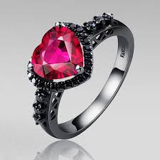 black ruby rings images Black silver wedding ring heart synthetic ruby 925 sterling silver jpg