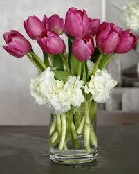 Hydrangea Centerpiece White Hydrangea Purple Tulips Centerpiece Bouquet Wedding Flower