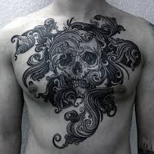 cool skull chest for tattoos chest