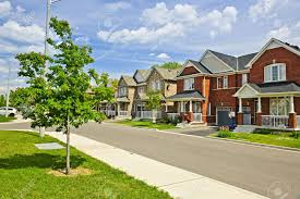 suburban residential with brick houses stock photo
