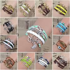 leaf charm bracelet images Infinity love leather charm handmade bracelet jpg