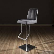 luxury grey suede kitchen breakfast bar stool seat adjustable