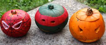 pumpkin carving ideas for teens spiderman and teenage mutant ninja turtle pumpkin painting messy