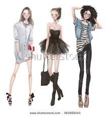 cute fashion cartoon girls sketchy style stock vector 366735392
