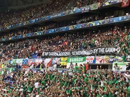 northern irish fans unveil an amazing flag tribute to tragic