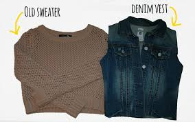 jean sweater jacket sweater denim jacket diy the with the smile