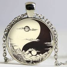 ying yang sun sacred geometry logo pendant necklace charm