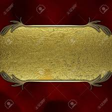 Gold Nameplate Gold Nameplate On A Red Background Stock Photo Picture And