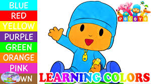 learning colors pocoyo coloring book learn colours episode