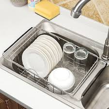 vegetable storage kitchen cabinets stainless steel retractable sink washing dish draining rack fruit and vegetable storage basket
