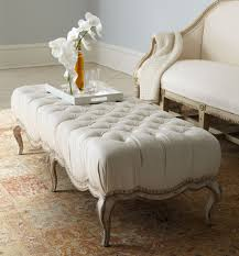 Soft Ottoman Fancy Ivory Fabric Tufted Soft Ottoman With Style