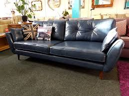 Leather Sofas Leeds Ex Display Connection Zinc Blue Leather 4 Seater Sofa 959