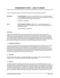 promissory note line of credit template u0026 sample form biztree com