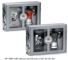 gift set of moka maker stovetop with coffee