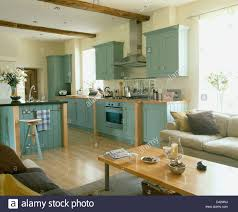 pale blue fitted units in country kitchen with pale wood coffee