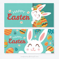 easter bunny happy banners vector free