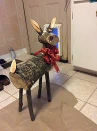 Outdoor Wooden Reindeer Christmas Decorations by Reindeer Made From Logs My Diy Version Of Pintrest Ideas