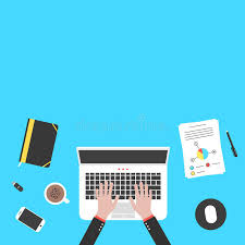 Desk Audit Hands And Office Objects On Blue Desk Top Stock Vector Image