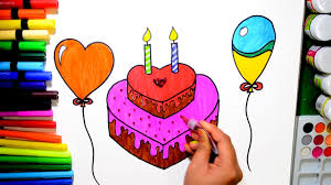 draw and color birthday heart cake and balloons coloring page and