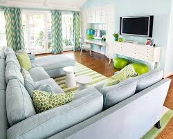 Family Room With Sectional Sofa Brown And Green Living Room With U Shaped Sectional Contemporary