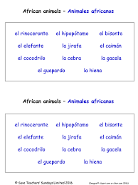 primary spanish resources animals and pets