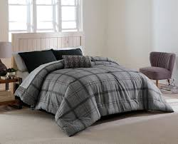 Korean Comforter Cannon Reversible Comforter Gray Plaid