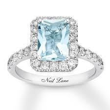 aquamarine and diamond ring neil aquamarine engagement ring 1 ct tw diamonds 14k gold