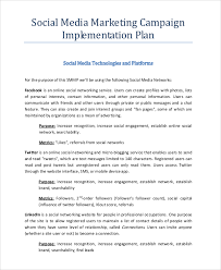 sample social media marketing plan 8 examples in pdf