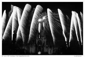 black white picture photo cinderella castle fireworks