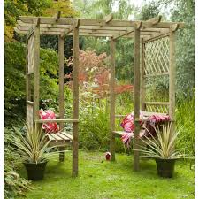 forest garden verona walk through arbour 2 benches trellis side panels