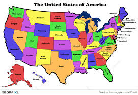united states map with state names and major cities map of united states with state names illustration 30331691 megapixl