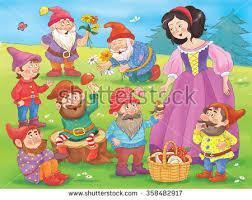 snow white dwarfs fairy tale stock illustration 358482917