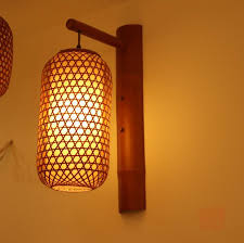 Bamboo Sconce New Chinese Handmade Bamboo Lampshade Wall Lamp Bedside Warm