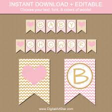 instant download baby shower invitations pink and gold baby shower banner instant download gold and