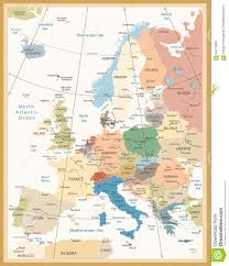 Europe Map Labeled Political Map Of Europe Retro Colors Stock Vector Image 66172683