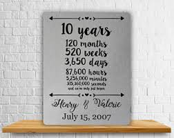 wedding gift by year 10 year anniversary etsy