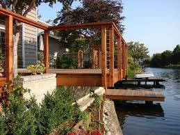 cantilevered deck redwood boat dock and deck cantilever over lagoon