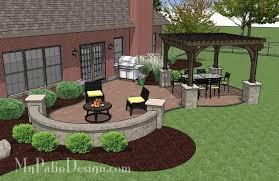 Concrete Paver Patio Designs Concrete Paver Patio Design With Pergola Plan